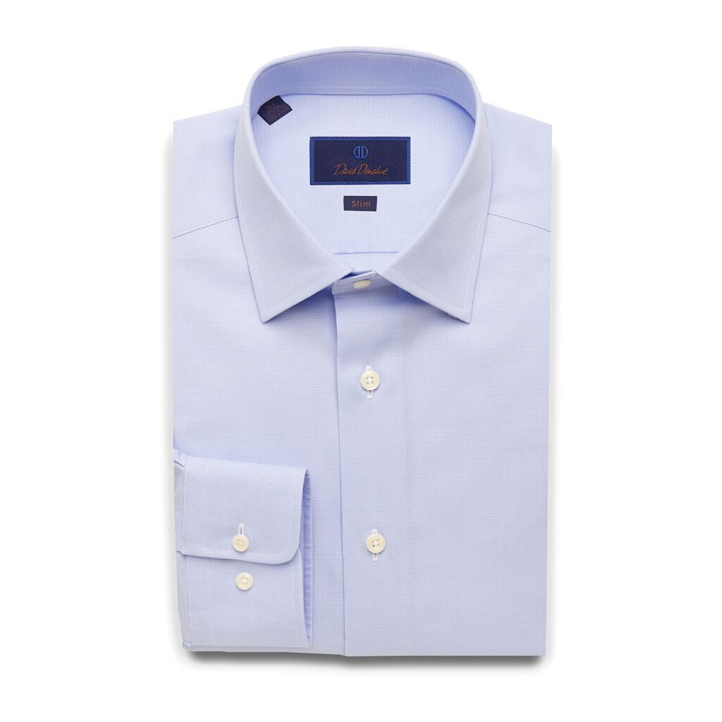 David Donahue Mens Slim Fit Micro Dobby Weave Dress Shirt