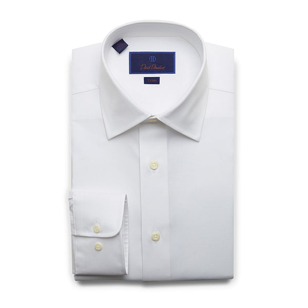 David Donahue Men's Trim Fit Super Fine Twill Dress Shirt, White