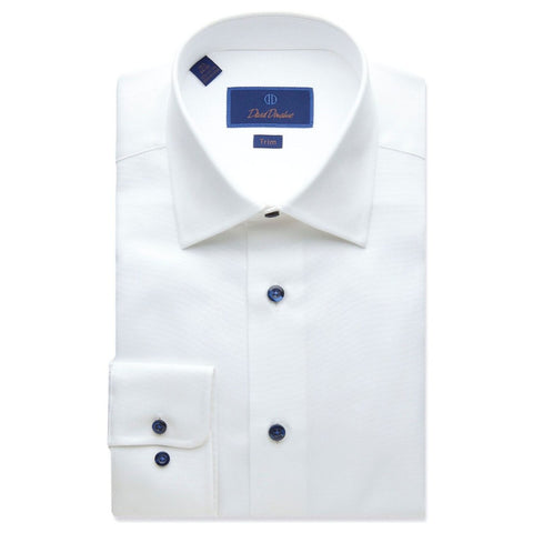 David Donahue Men's Trim Fit Micro Textured White Dress Shirt
