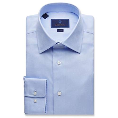 David Donahue Trim Fit Royal Oxford Barrel Cuff Dress Shirt - Blue
