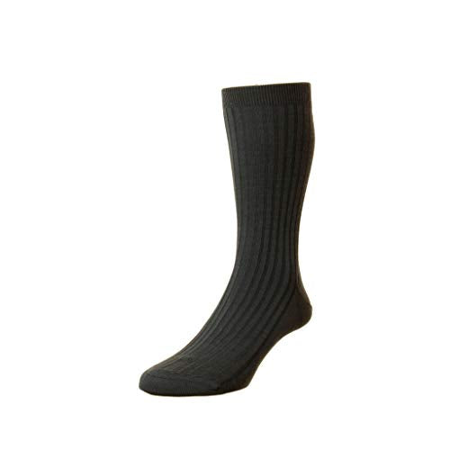 Pantherella Mens Rutherford Mid Calf Merino Royale Solid Ribbed Dress Socks