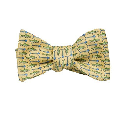 Peter-Blair Men's Yellow Bonefish 100% Silk Bow Tie Handmade in USA (39BFY3BT)