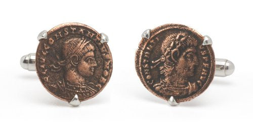 Tokens & Icons Bronze Roman Coin Cufflinks (55RC)