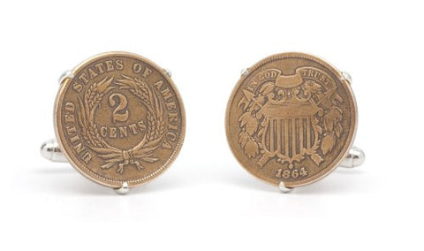 Tokens & Icons Cufflinks - US Civil War Era 2 Cent Piece (552C)