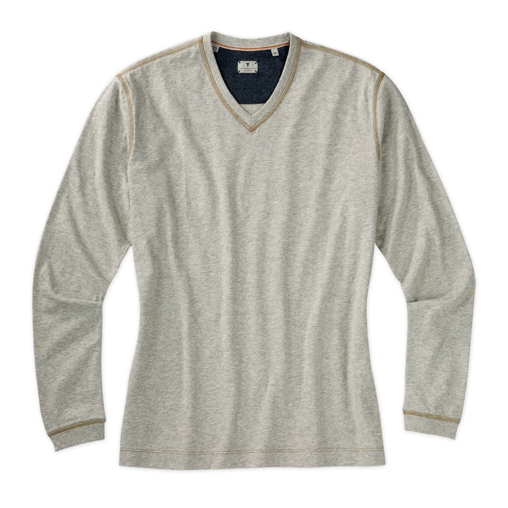 Left Coast Tee Men's Long Sleeve Contrast Stitch Pima Jersey V Neck Shirt