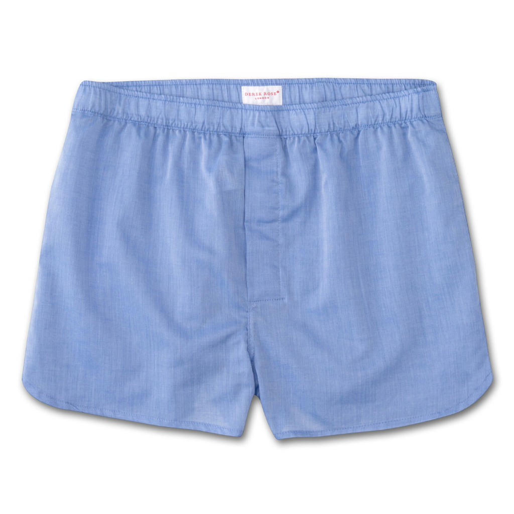 Derek Rose Men's Modern Fit Cotton Boxer Shorts (Amalfi 1 Blue)