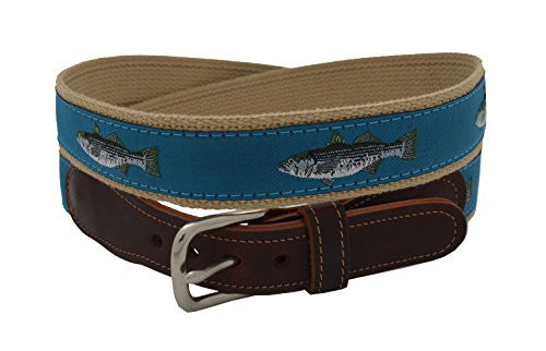 Epic Men's Teal Striped Bass Ribbon Belt