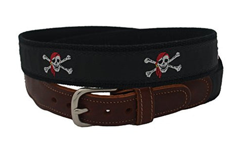 Epic Mens Red Skull and Crossbones Ribbon Belt