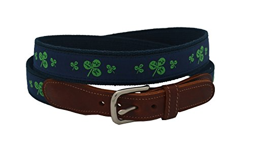 Epic Mens Navy Shamrock Ribbon Belt