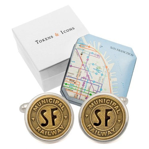 Tokens & Icons Transit Token Sterling Silver Settings Cufflinks (55-TRANSIT-P)