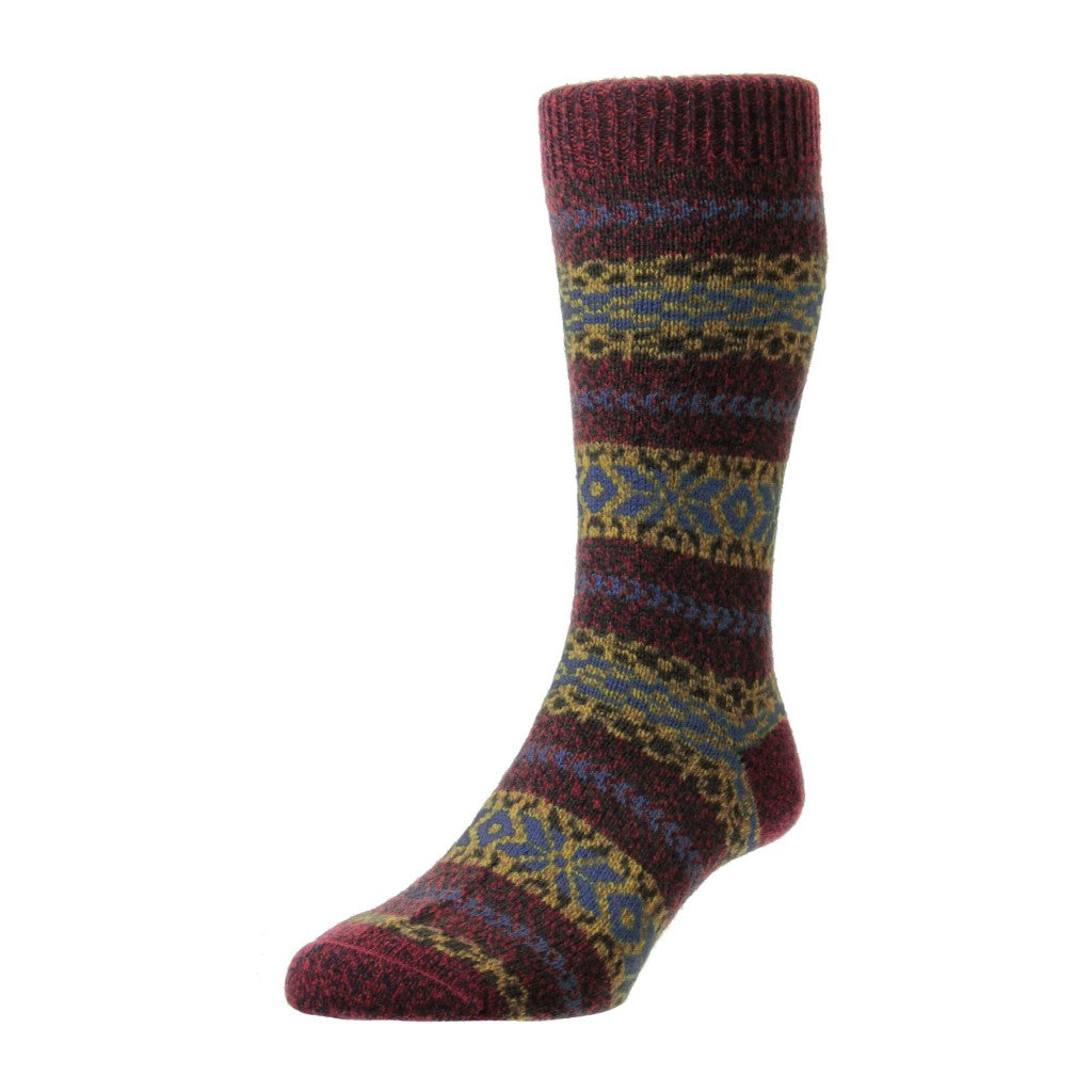 Scott Nichol Men's Farne Country Fairisle Stripe Wool Mid Calf Socks