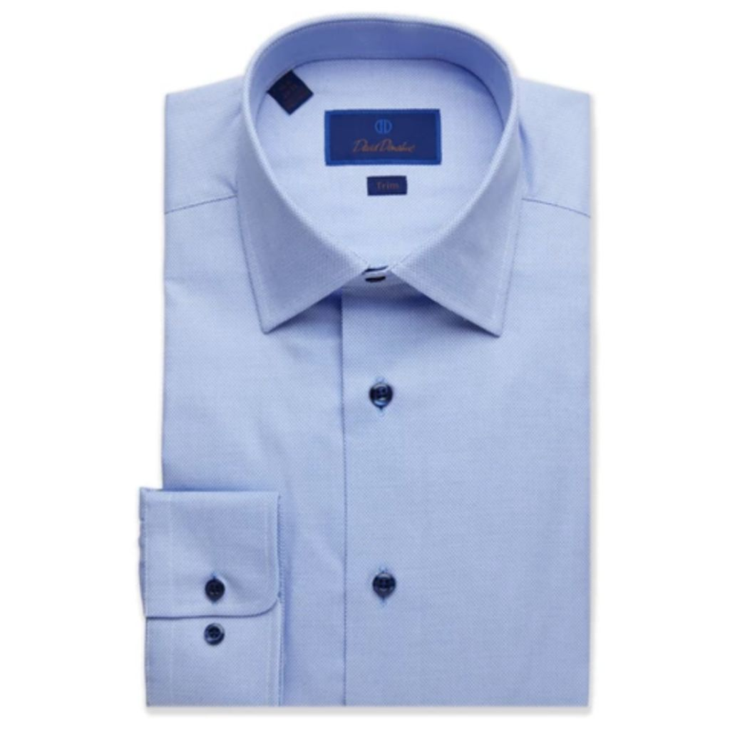 David Donahue Mens Trim Fit Long Sleeve Textured Micro Dobby Button Up Dress Shirt