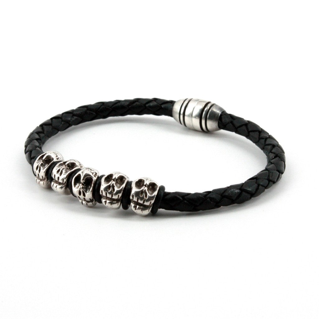 Torino Leather Co. Men's Genuine Braided Black Leather With Silver Skulls Bracelet