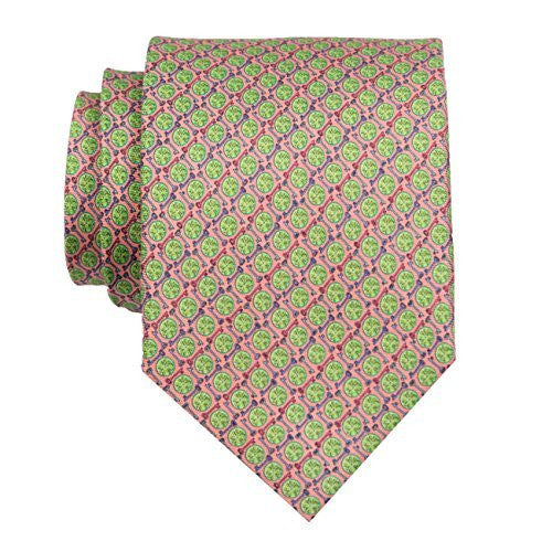 Peter-Blair Men's Coral Key Lime 100% Silk Tie Handmade in USA (39KLC2)