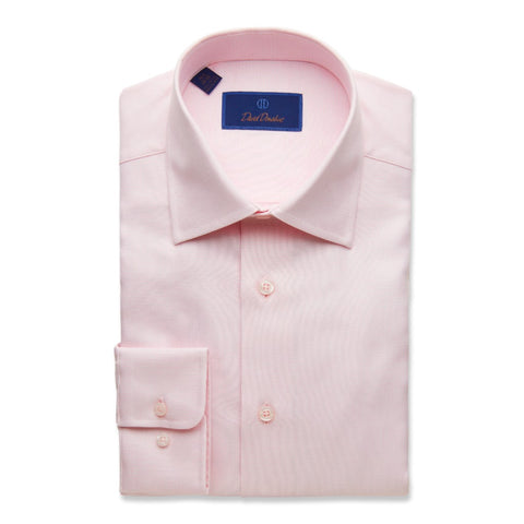 David Donahue Men's Regular Fit Micro Box Dress Shirt, Pink