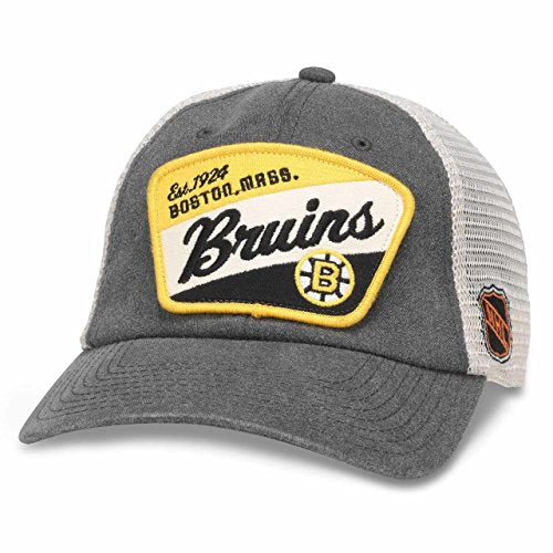 American Needle Ravenswood NHL Team Mesh Hat, Boston Bruins, Ivory/Charcoal (43422A-BBR)