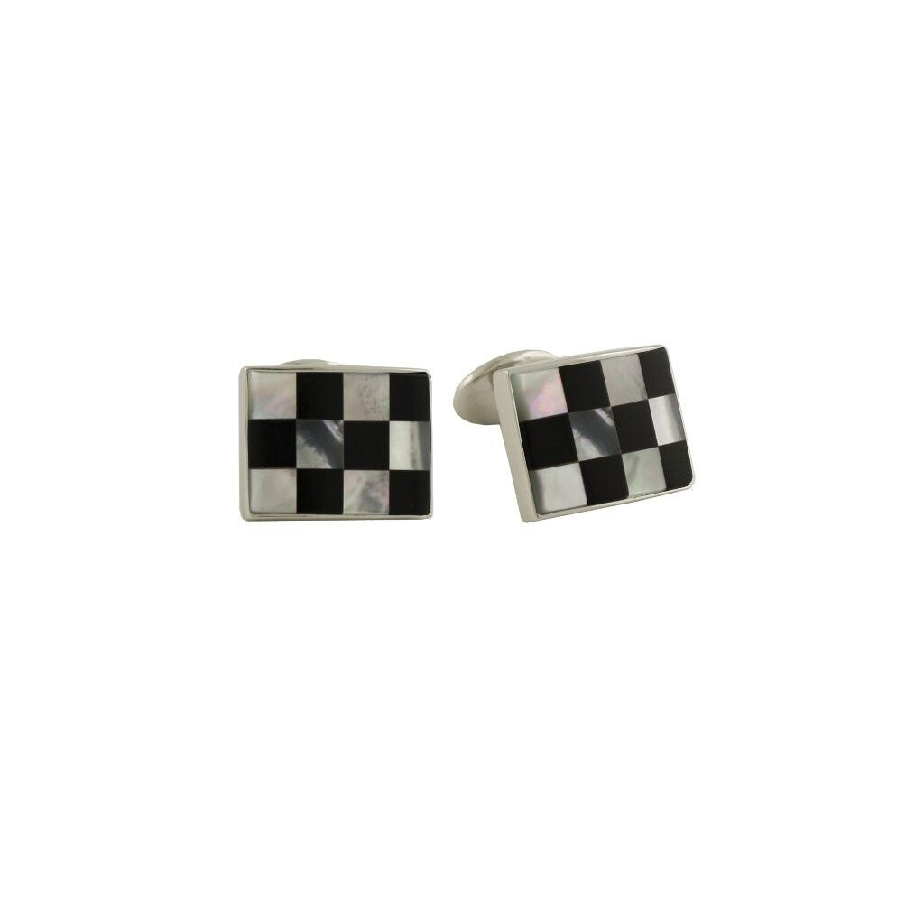 David Donahue Men's Sterling Silver Black Onyx & Mother of Pearl Checkerboard Cufflinks (CL548802)