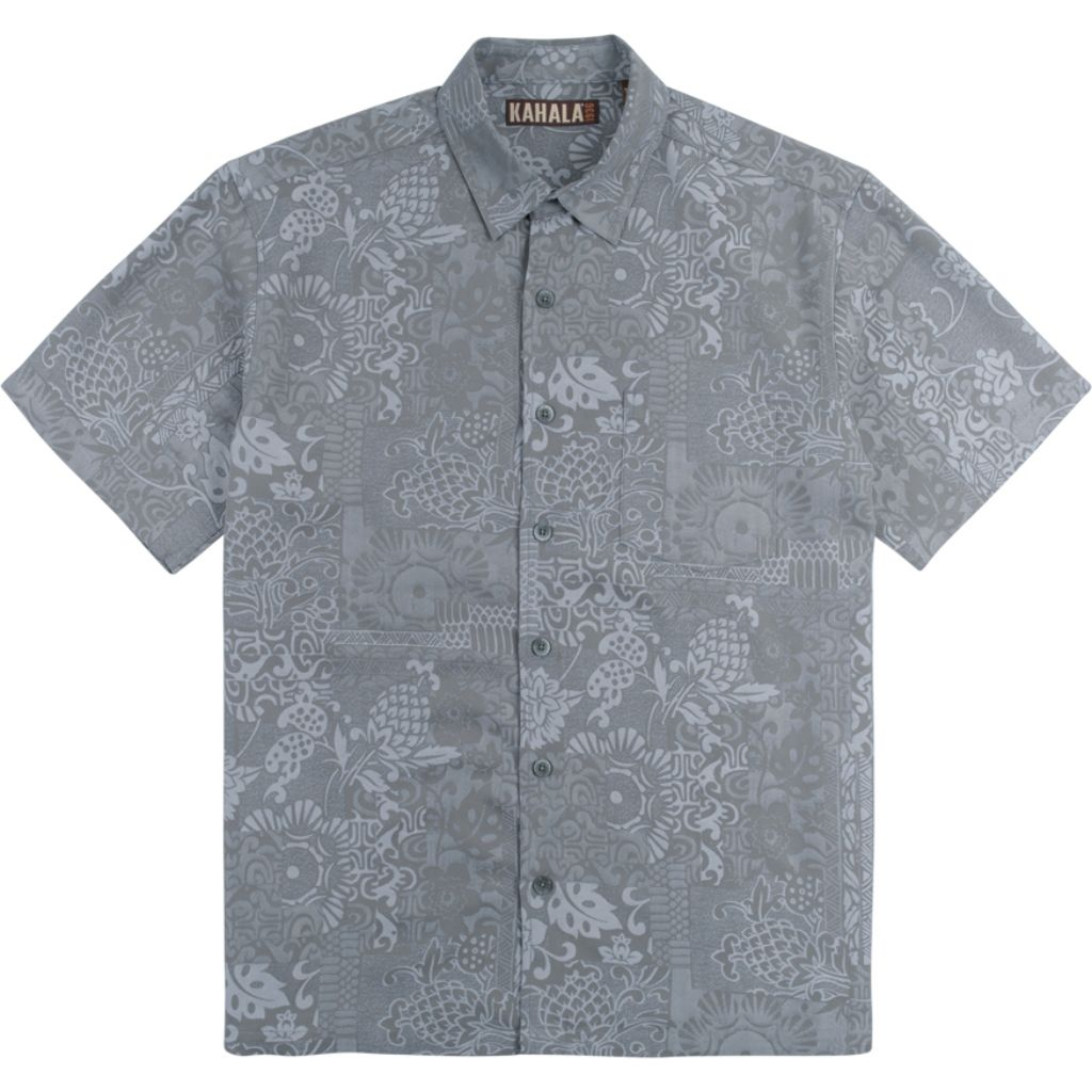 Kahala Apana Hawaiian Print Aloha Shirt Short Sleeve Button Down Casual Mens Top