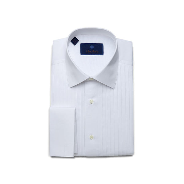 David Donahue Mens Regular Fit Pleated Bib French Cuff Formal Dress Shirt, White