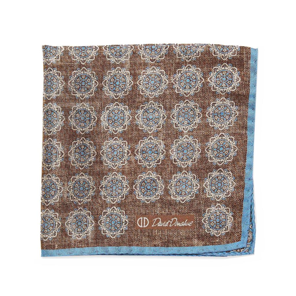 David Donahue Mens Silk Double Sided Medallion Pocket Square