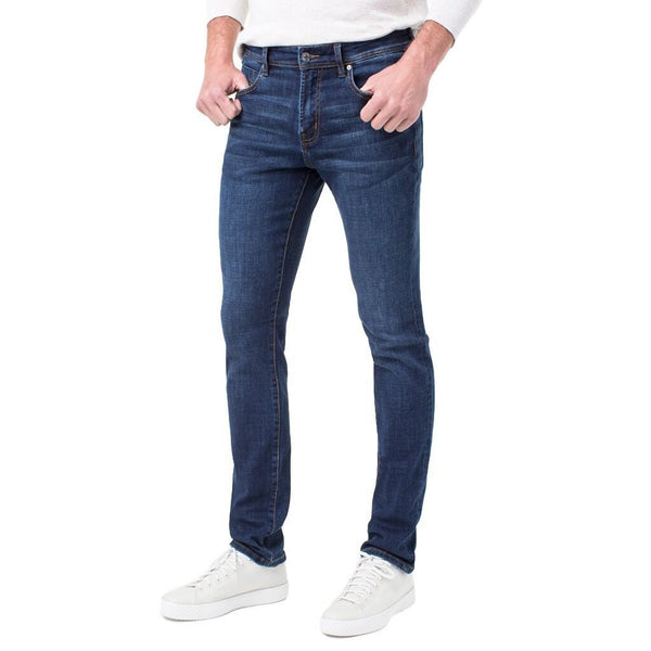 Liverpool Jeans Men's Slim Fit Straight Crosshatch Coolmax Stretch Denim Jeans, Navajo Dark Navy