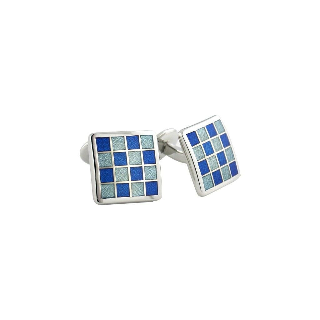 David Donahue Men's Sterling Silver Blue Checkerboard Cufflinks (CL020402)