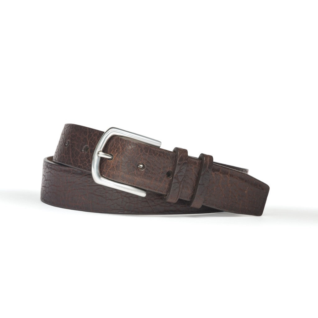 W. Kleinberg Men's Tucson American Bison with Brushed Nickel Buckle Belt