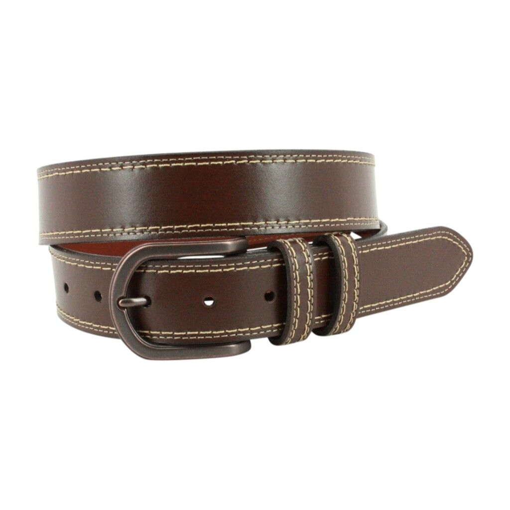 Torino Leather Co. Men's 35MM Genuine Leather Slab Contrast Stitch Casual Belt
