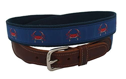 Epic Mens Red Crab Navy Ribbon Belt