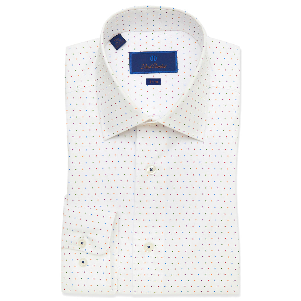 David Donahue Mens Trim Fit Long Sleeve Multi Colored Polka Dot Dress Shirt, White/Multi