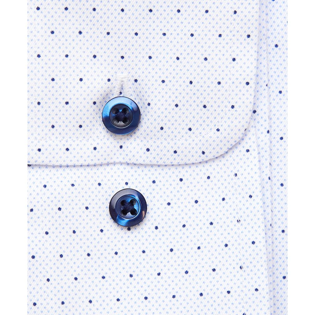 David Donahue Mens Trim Fit Spread Collar Barrel Cuff Micro Dot Dress Shirt