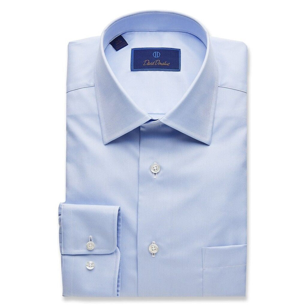 David Donahue Regular Fit Super Fine Twill Blue Dress Shirt