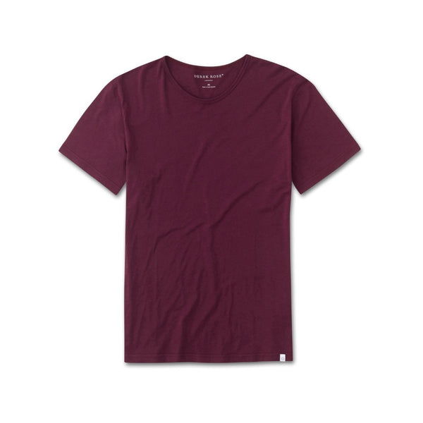 Derek Rose Men's Short Sleeve Riley 2 Pima Cotton Tee T-Shirt (Burgundy Red)