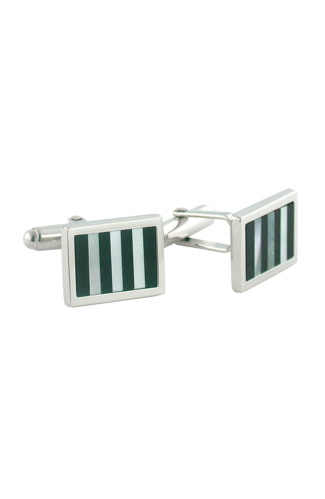 David Donahue Sterling Silver Onyx and Mother of Pearl Striped Cufflinks (H95128502)
