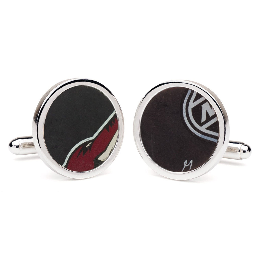 Tokens & Icons NHL Game Used Round Hockey Puck Cufflinks - Phoenix Coyotes (61PC)