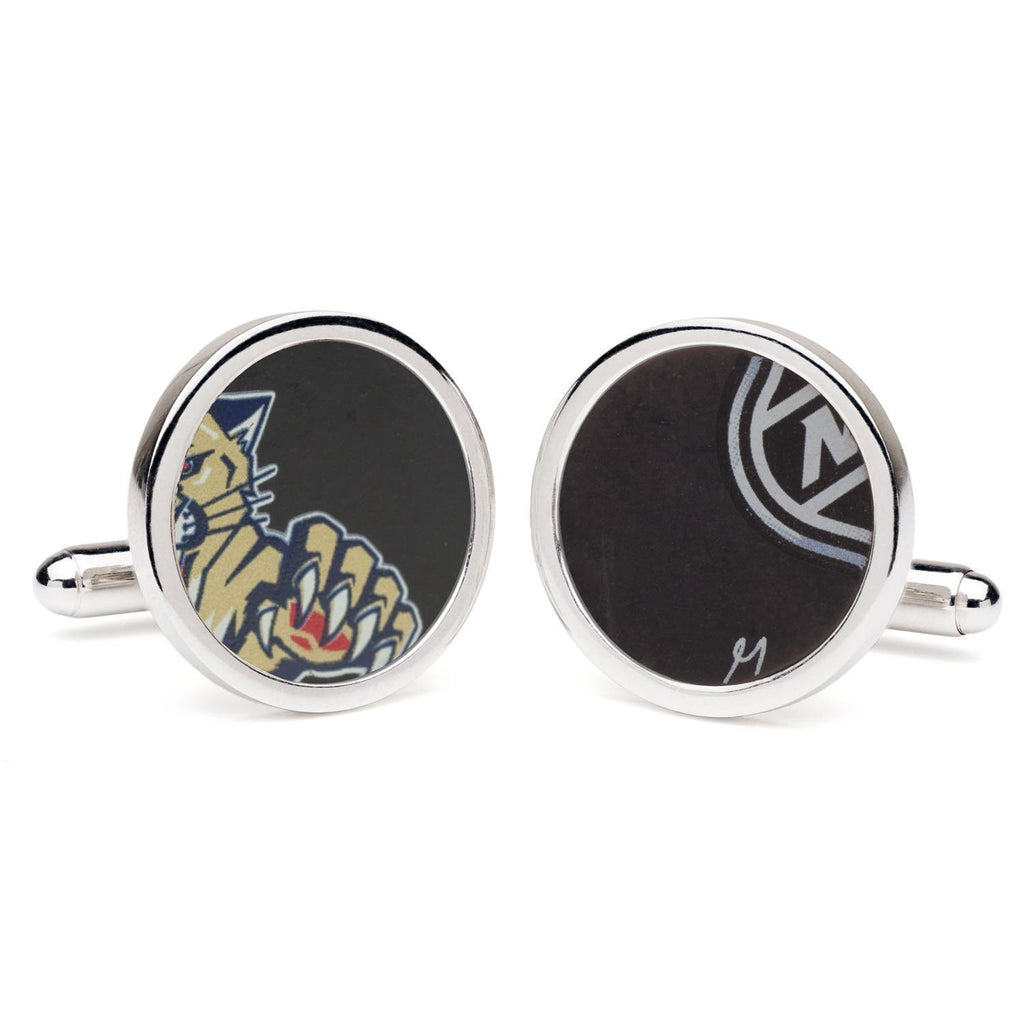 Tokens & Icons NHL Game Used Round Hockey Puck Cufflinks - Florida Panthers (61FP)