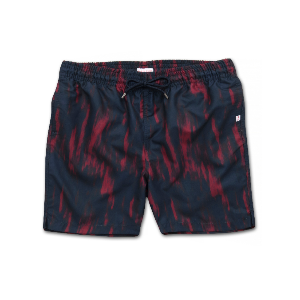 Derek Rose Mens Classic Fit Pattern Swim Suit Shorts, Maui 23 Red