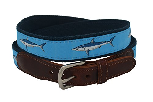 Epic Mens Light Blue Mako Shark Ribbon Belt