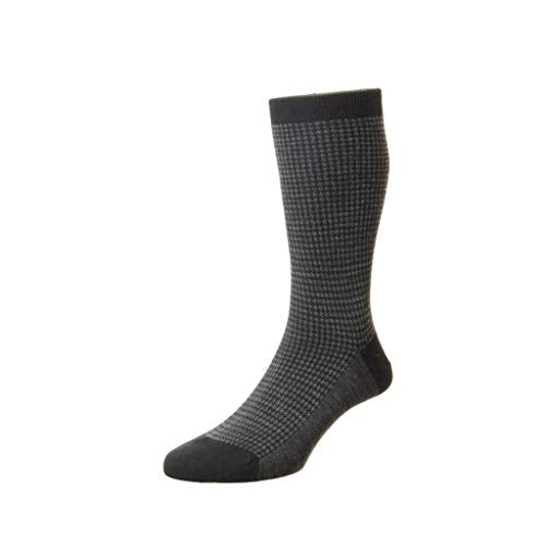 Pantherella Mens Highbury Mid Calf Merino Wool Houndstooth Dress Socks