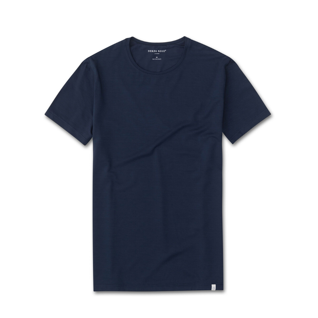 Derek Rose Men's Modal Crew Neck T-Shirt (Basel 1 Denim)