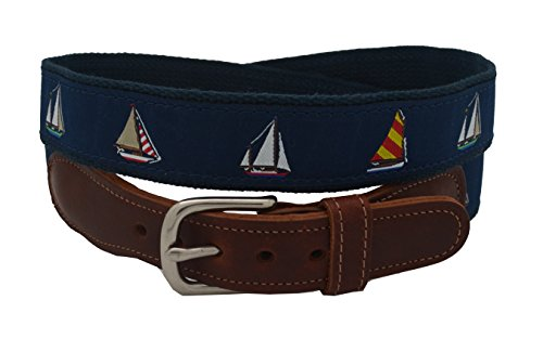 Epic Mens 4 Sailboats Ribbon Belt