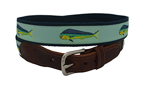 Epic Mens Mint Mahi Mahi Ribbon Belt