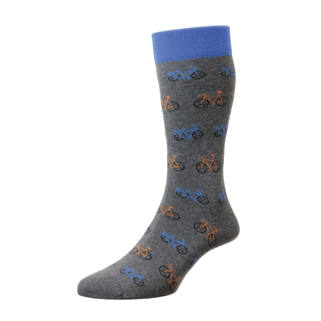 Scott Nichol Men's Beeley Bicycles With Contrast Top Mid Calf Socks