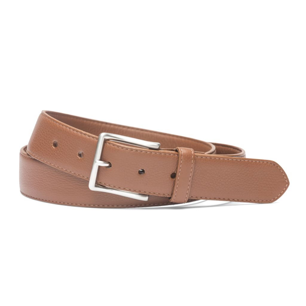"W. Kleinberg Mens 1 3/8"" Wide High Pebbled Soft Construction Calf with Brushed Nickel Buckle Belt"