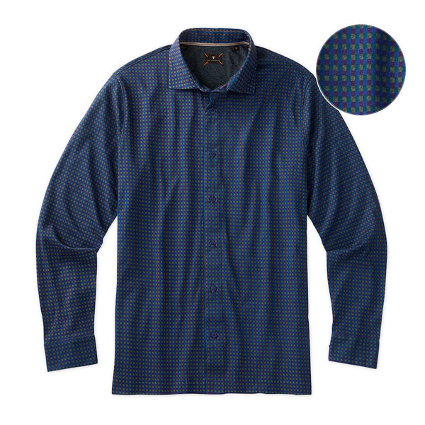 Left Coast Tee Men's Long Sleeve All Over Tweed Check Sport Shirt