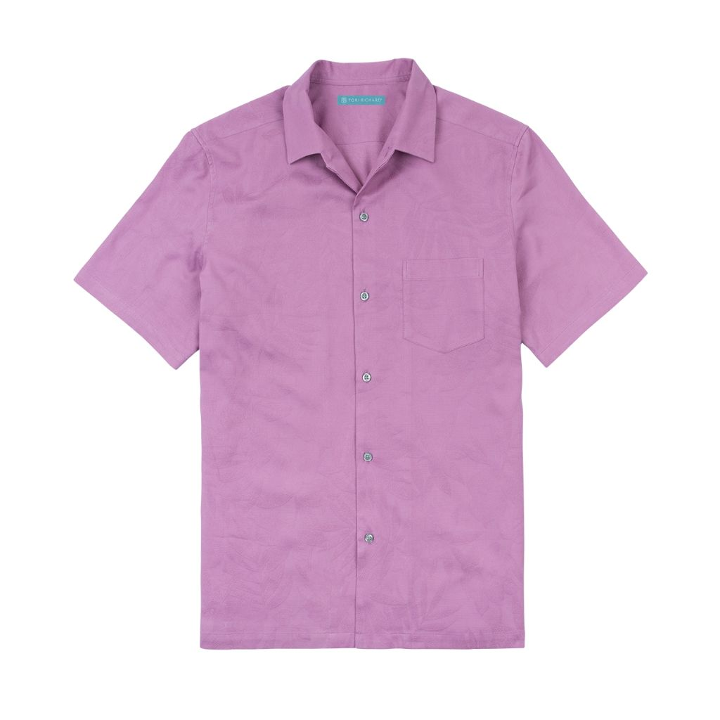 Tori Richard Mens Regular Fit Short Sleeve Pollenesia Cotton Silk Shirt