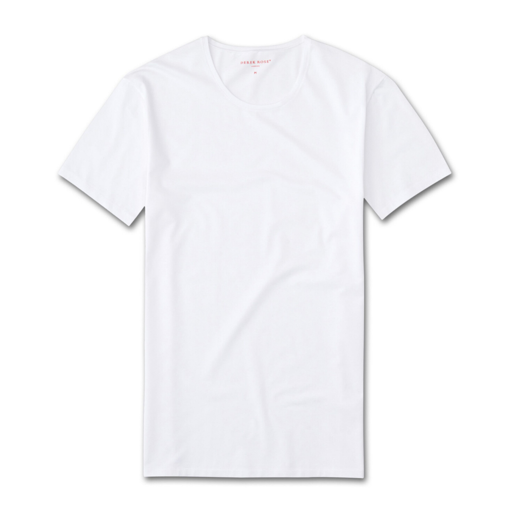 Derek Rose Mens Short Sleeve Jack Pima Cotton Crew Neck Stretch White T Shirt