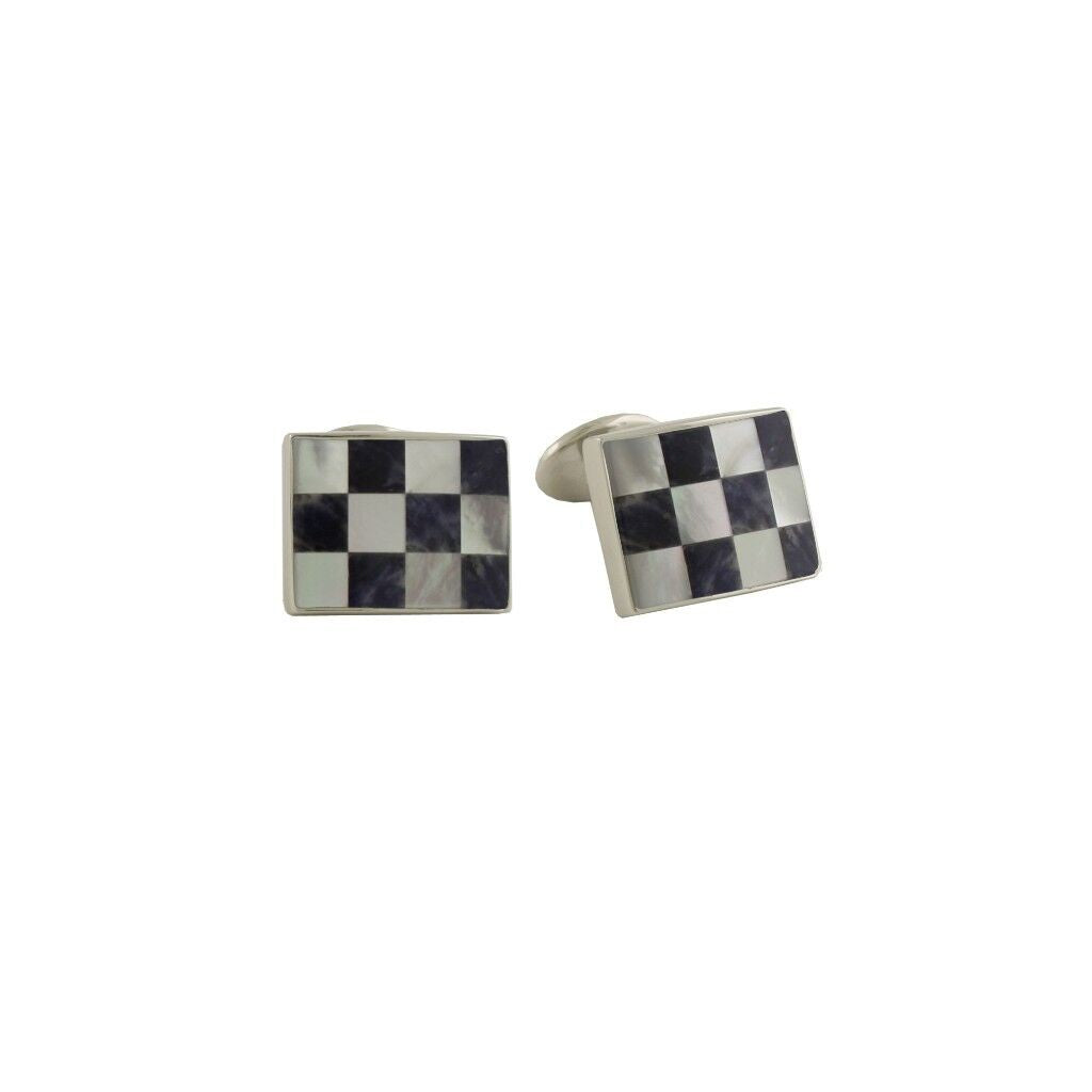 David Donahue Men's Sterling Silver Blue Sodalite & Mother of Pearl Checkerboard Cufflinks (CL548702)