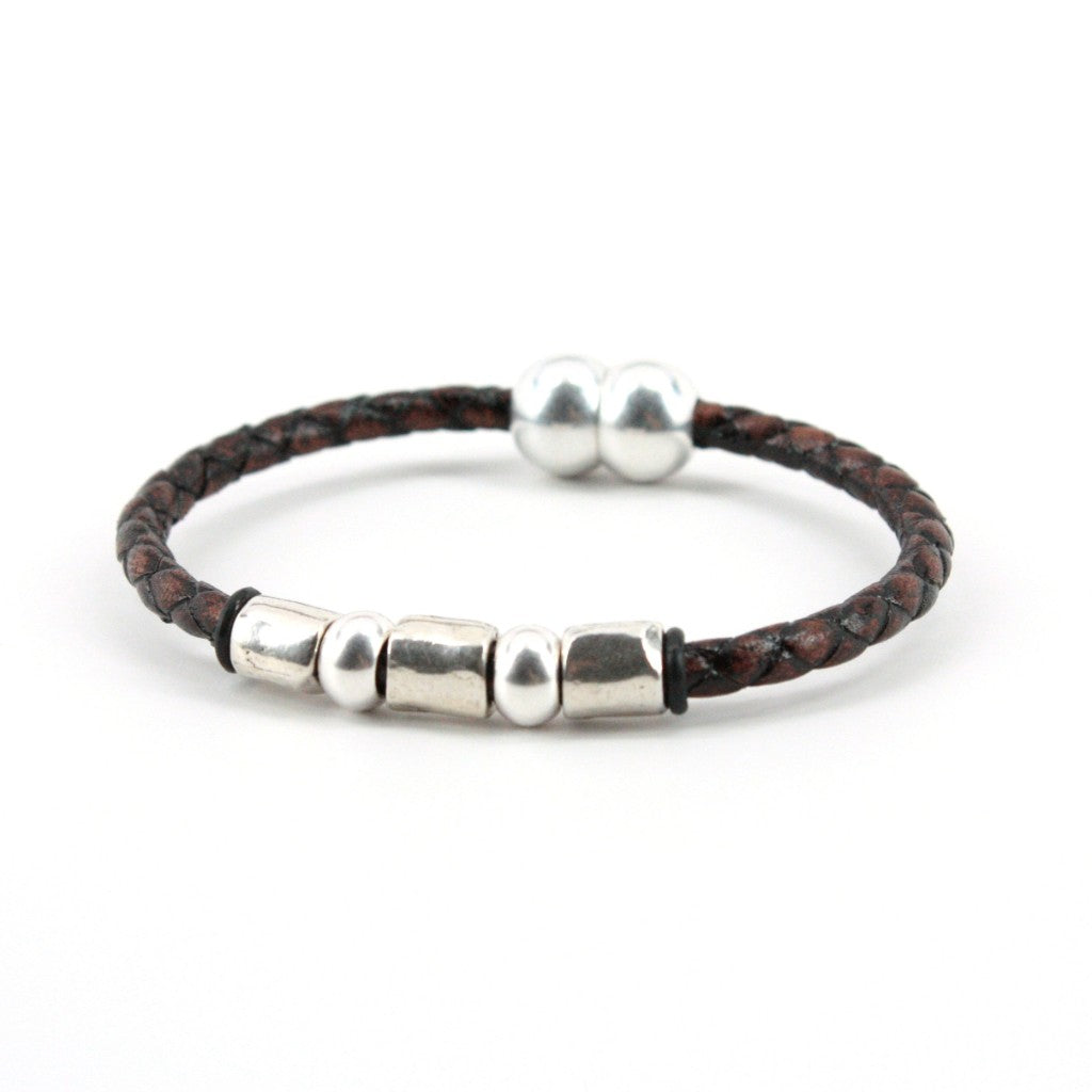 Torino Leather Co. Men's Genuine Braided Leather Sterling Plated Beads Bracelet