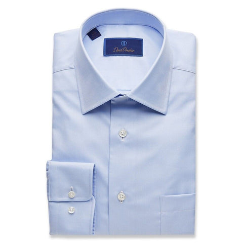 David Donahue Men's Super Fine Twill Regular Fit Blue Dress Shirt Blue